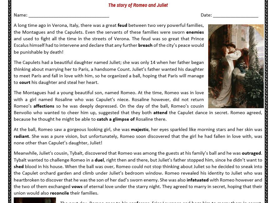 The Story of Romeo and Juliet - Reading Comprehension Worksheet