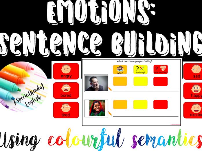 Emotions sentence building - writing using colourful semantics
