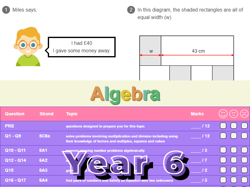Algebra Worksheet + Answers (KS2 - Year 6)