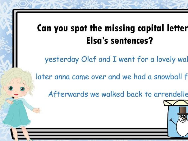 Frozen themed SPAG and Phonics questions Key Stage 1