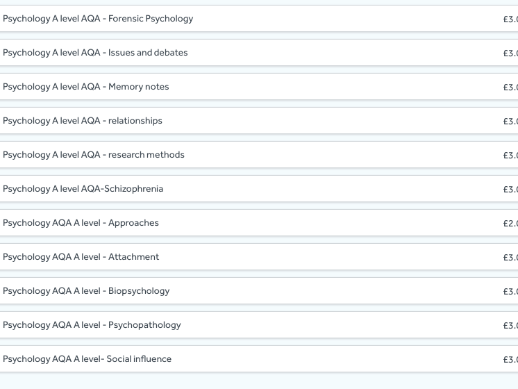 Alevel Psychology Resources - ALL