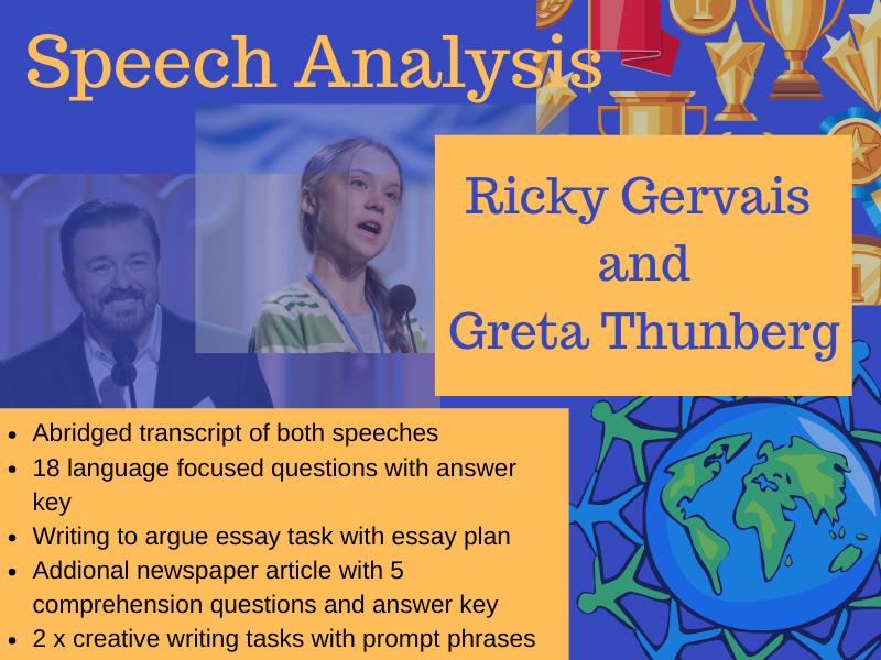 English speech analysis: Ricky Gervais and Greta Thunberg