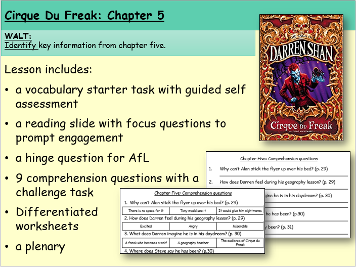 Cirque du Freak: Chapter Five (Reading and Comprehension)