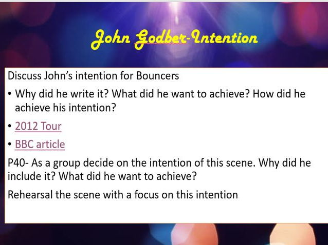 John Godber's Bouncers- Intention, Demands, Artistic vision and Audience perception Lesson