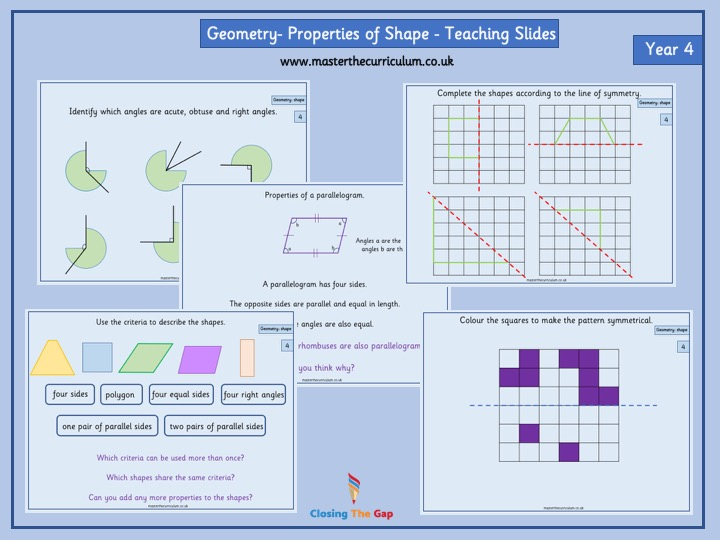 Year 4- Geometry- Properties of shape- Fluency Teaching slides- White Rose Style