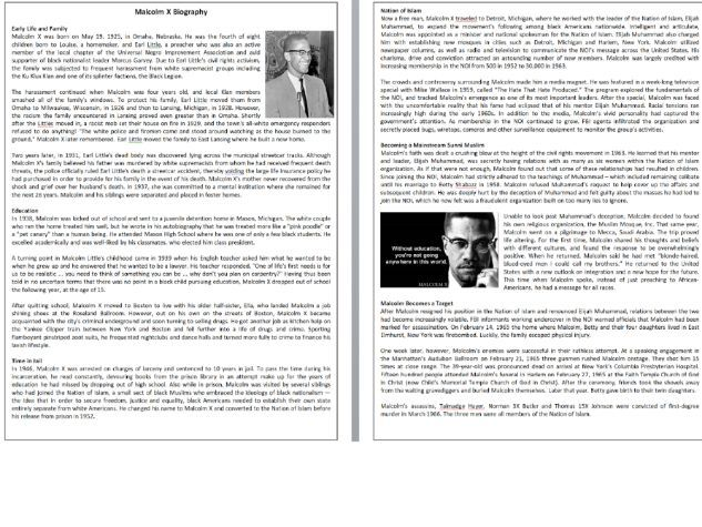Malcolm X Biography - Reading Comprehension / Informational Text
