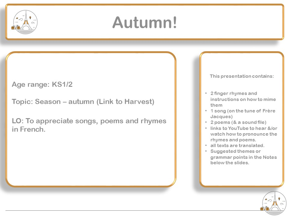 French Finger rhymes, poems and song - Season: Automne / autumn  (& Harvest festival) KS1 KS2