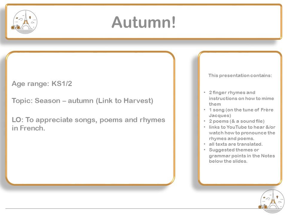 French Finger rhymes, poems and song - Season: Automne / autumn  (& Harvest festival) KS1 KS2