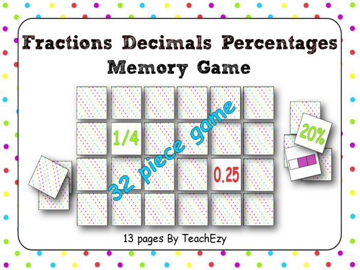 Fractions Decimals and Percentage Memory Game