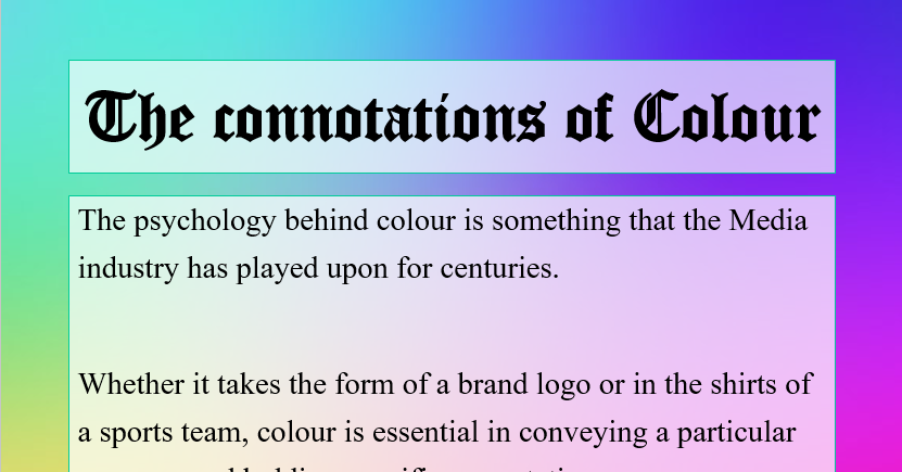 Connotations of Colour