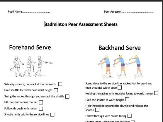 Badminton Peer Assessment Sheet