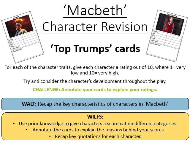 'Macbeth' Character Revision Top Trumps