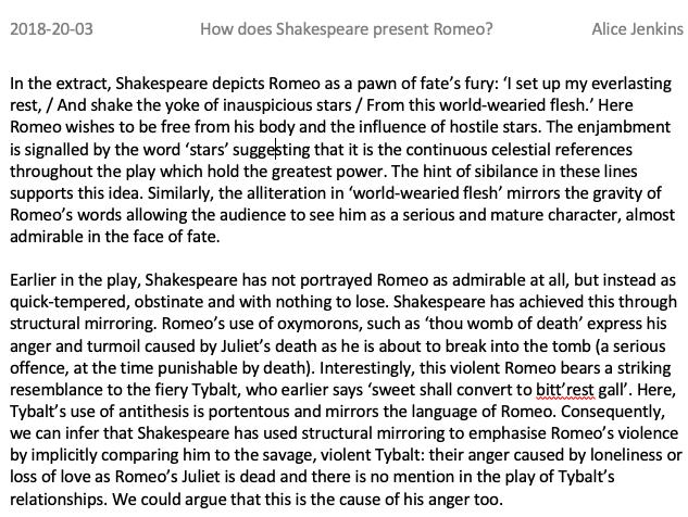 GCSE Romeo and Juliet Level 8/9 Exemplar Essay on presentation of Romeo