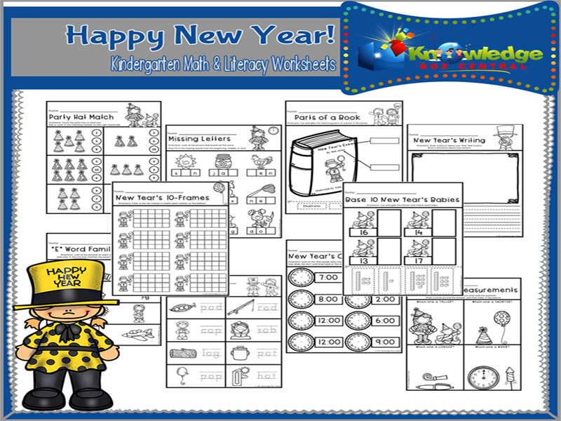 Happy New Year! Kindergarten Math & Literacy Worksheets
