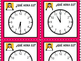 Telling the time card game + cut-out clock for Spanish students