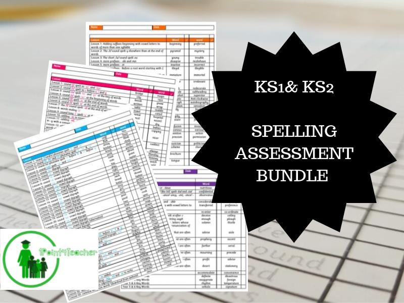 Year 1 - 6 Spelling  Assessment Bundle