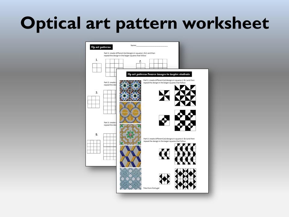 Optical art pattern worksheet