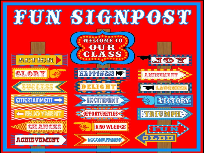 WELCOME / NEW CLASS / FUN SIGNPOST - DISPLAY TEACHING RESOURCES EYFS KS1 KS2
