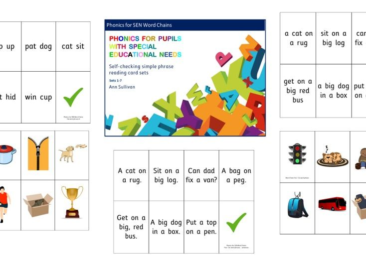 Word Chains – Self Checking Card Set – Reading phrases with 2-5 words Sets 1-7 - Phonics for SEN