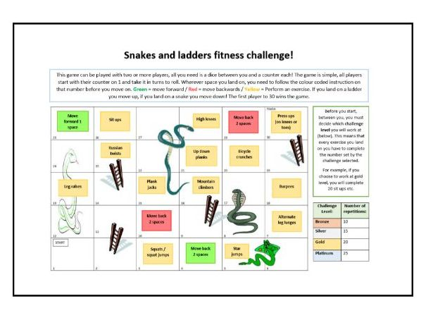 Core PE - Lockdown fitness resource - Snakes and ladders