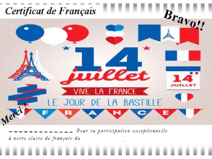 Bastille day certificate 1/ Certificat 14 juillet 1