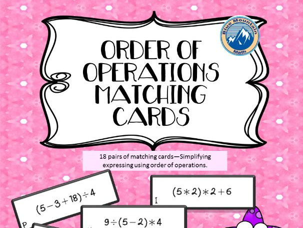 Order of Operations Matching Card Set