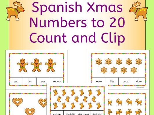 Spanish Christmas Numbers Numeros Count and Clip Cards