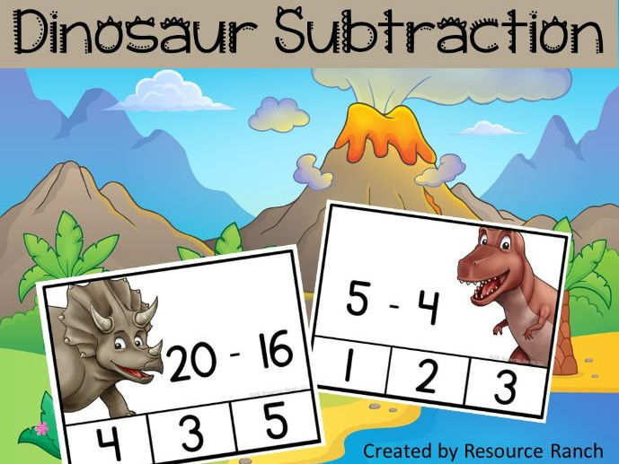 Dinosaur Subtraction Cip Cards