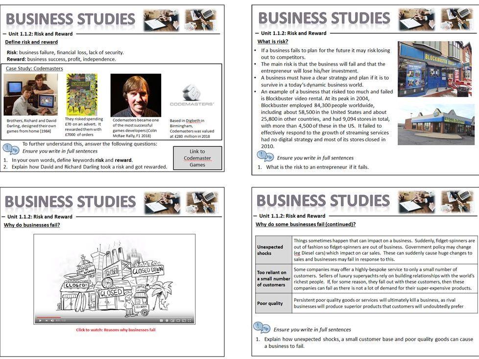 GCSE Business Studies (9-1) 1.1 Enterprise and Entrepreneurship