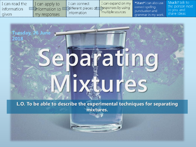 EDEXCEL ELC Science C2 - Separating Mixtures (Whole Unit!)