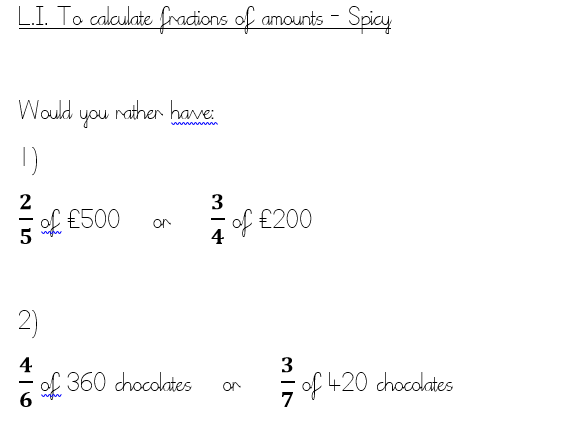 Year 6 - Fractions of amounts - Would you rather?