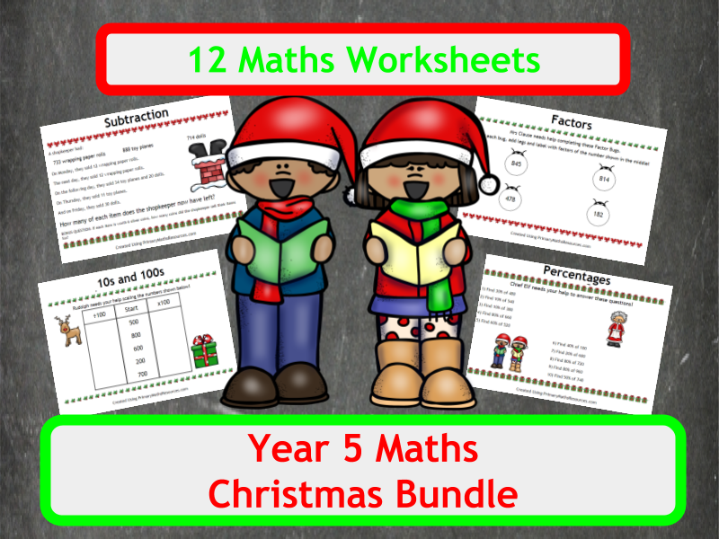 Christmas Maths Worksheets - Year  5