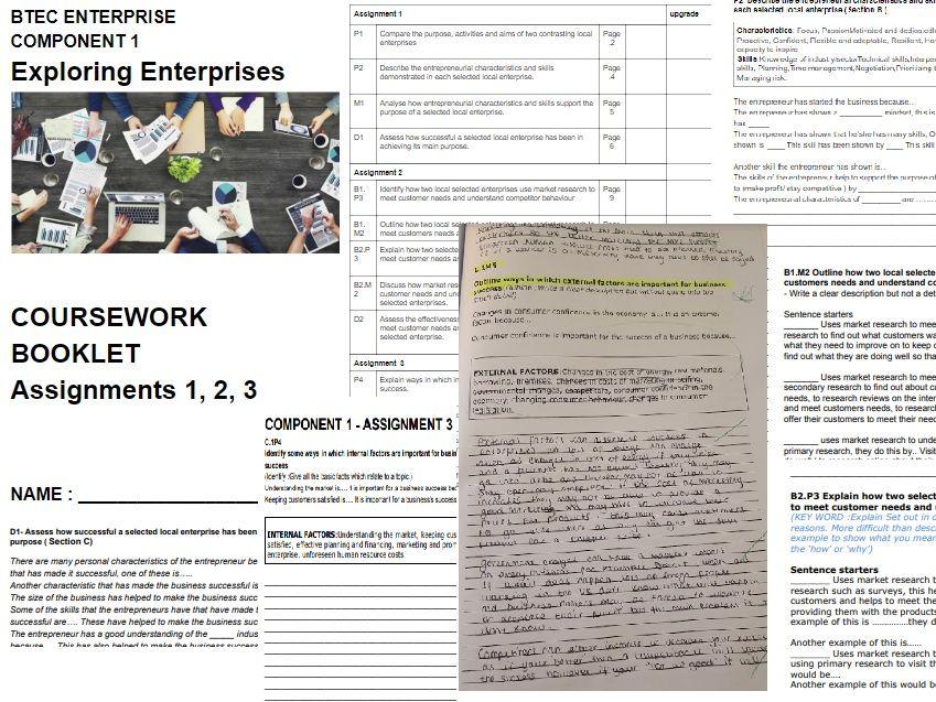 BTEC ENTERPRISE COMPONENT 1 Exploring Enterprises  COURSEWORK WRITING BOOKLET Assignments 1, 2, 3