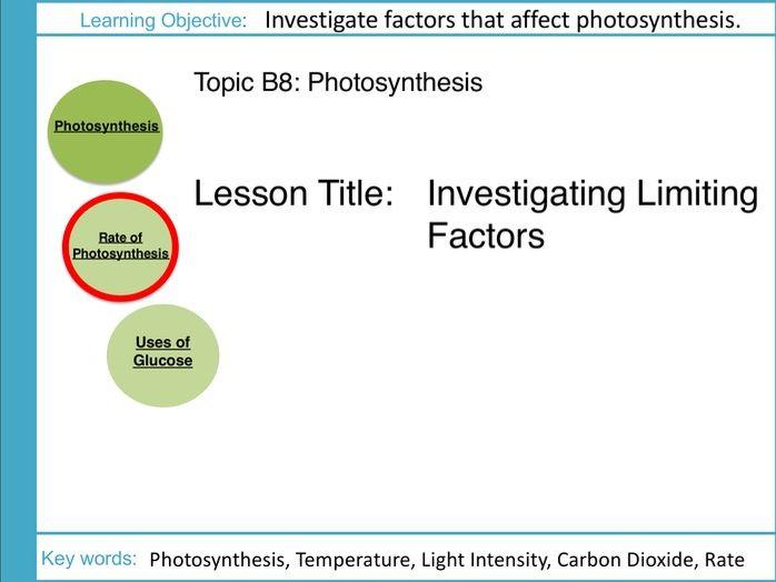 AQA GCSE: B8 Photosynthesis: L3 Investigating Limiting Factors
