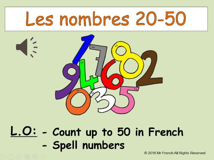 Les nombres 20-50 ( French numbers 20-50) 3 lessons!  Y3  2nd Grade