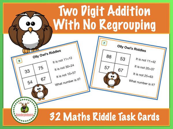 Maths Riddles Task Cards - Two-Digit Addition - No Regrouping
