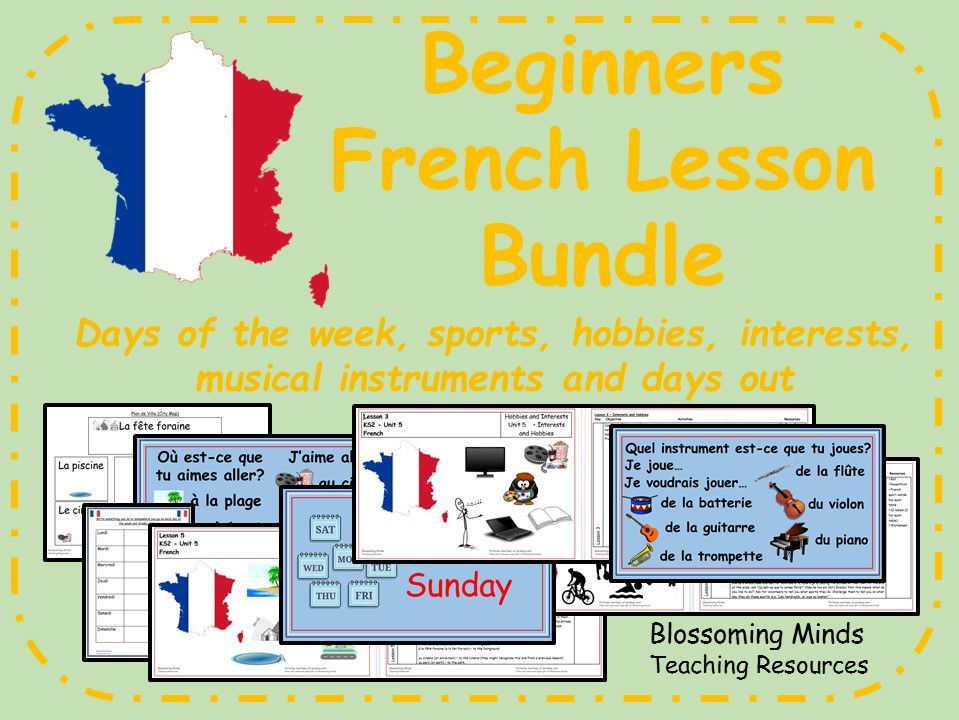 French lesson bundle - KS2 - Hobbies and Interests