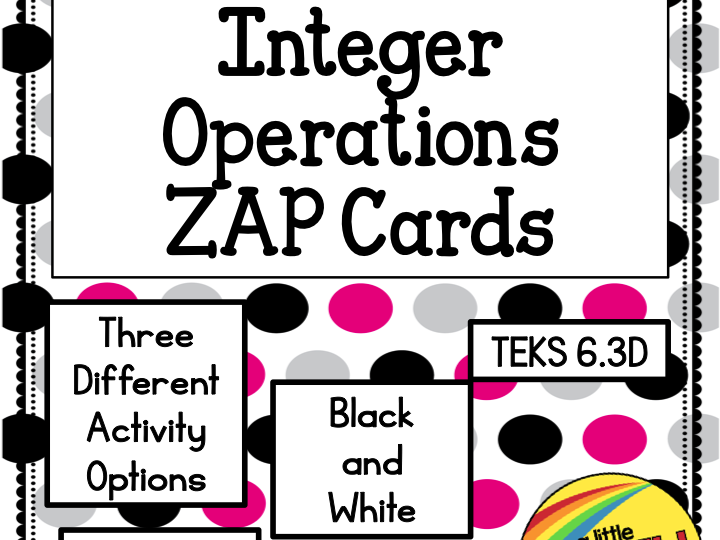 Integer Operations Zap Cards TEKS 6.3D