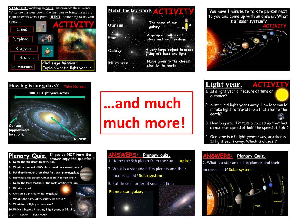 Space, solar system, stars, galaxies, moons, light years and the universe. Complete KS3 lesson.