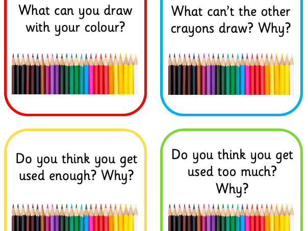 The Day the Crayons Quit-Hot Seating Question Cards