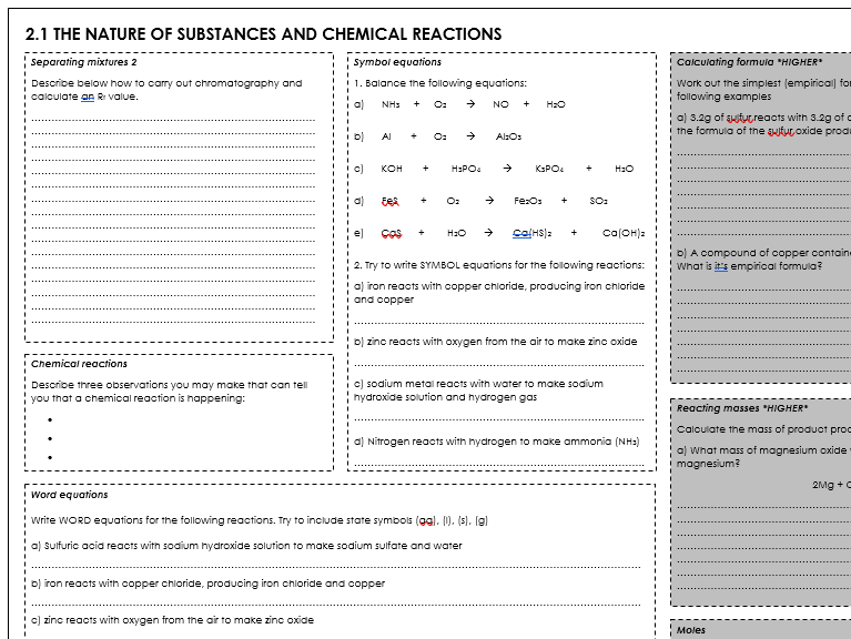 WJEC C1.1 Chemistry Revision Sheet - The Nature of Substances & Chemical Reactions