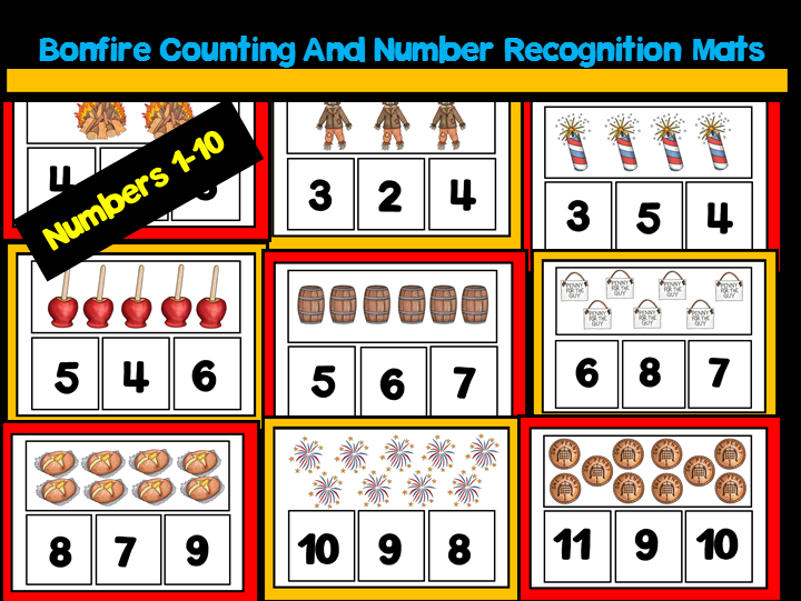 Bonfire Night Counting And Number Recognition Mats