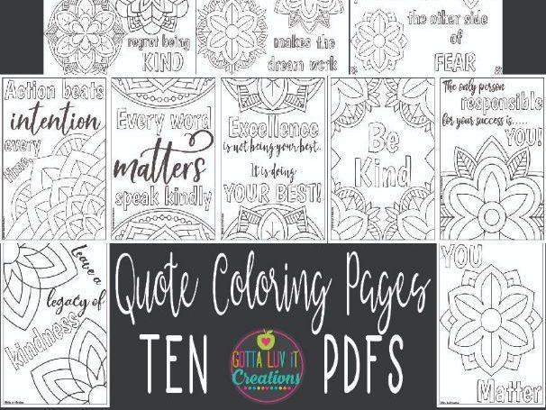10 Mandala Motivational Coloring Pages