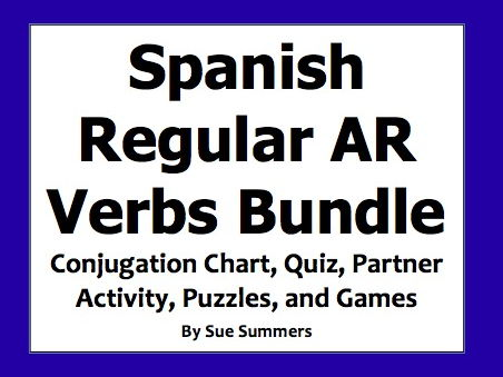 Spanish AR Verbs Bundle - Games, Quiz, Puzzles, Vocabulary, and Conjugation Chart