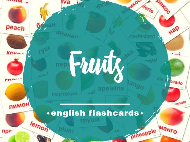 Printable Fruits Flashcards for Toddlers