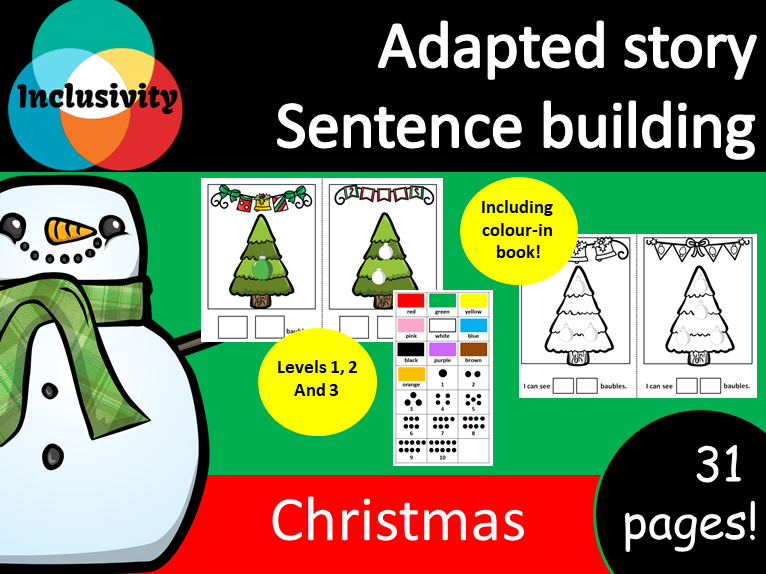 Adapted storybook sentence building numbers, counting and colours Christmas theme Levels 1, 2 and 3
