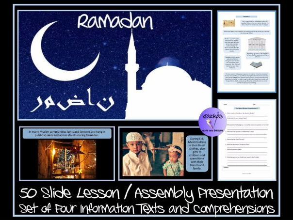 Ramadan PowerPoint Lesson / Assembly Presentation - Set of Four Information Texts and Comprehensions