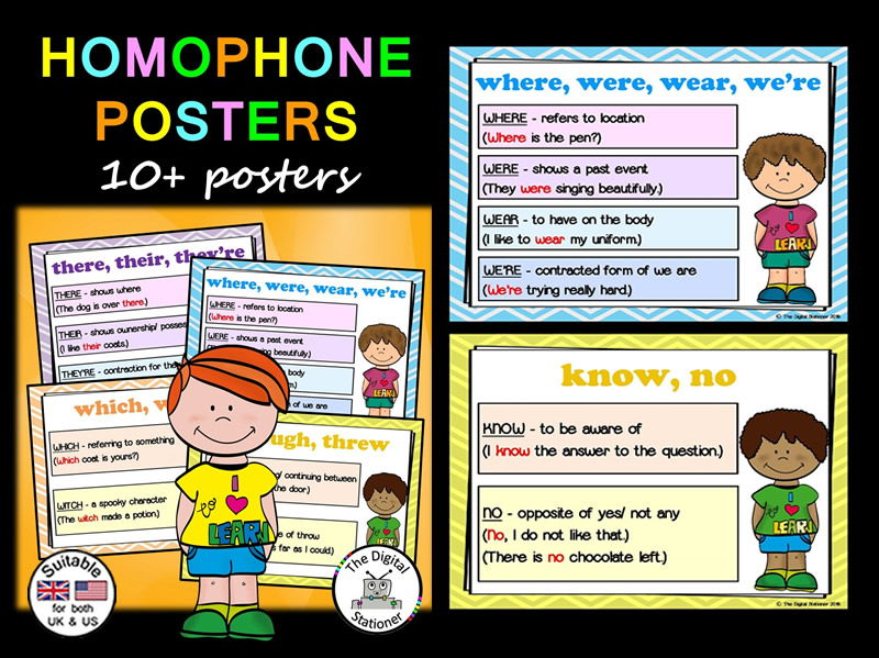Homophones Posters - Commonly misspelled words - 10+ posters