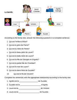 Famille (Family in French) Family Tree Worksheet 2