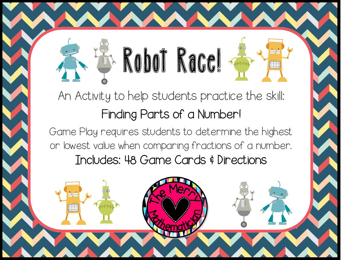 Fractions of a Number/Whole  Robot Race Game